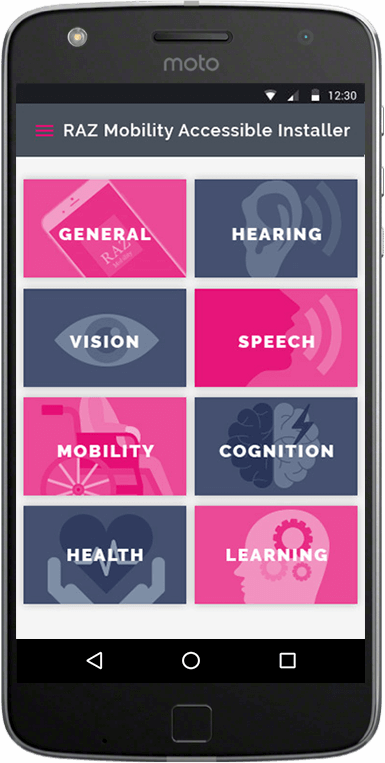 Smartphone display with RAZ Mobility Accessibility Application Installer Screen showing a selection of applications for hard of hearing individuals